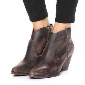 Frye Reina Black Leather Western Ankle Bootie